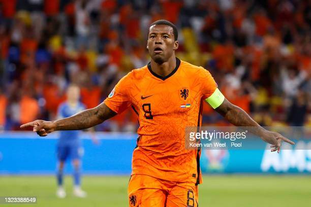 Georginio Wijnaldum of Netherlands celebrates after scoring their side's first goal during the UEFA Euro 2020 Championship Group C match between...
