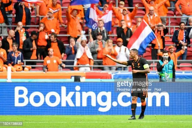 Georginio Wijnaldum of Netherlands celebrates after scoring their side's third goal during the UEFA Euro 2020 Championship Group C match between...