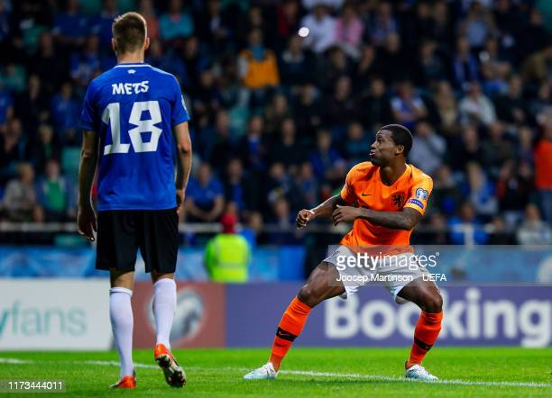 Georginio Wijnaldum of Netherlands celebrates his goal during the UEFA Euro 2020 Qualifier group C match between Estonia and Netherlands at A le Coq...