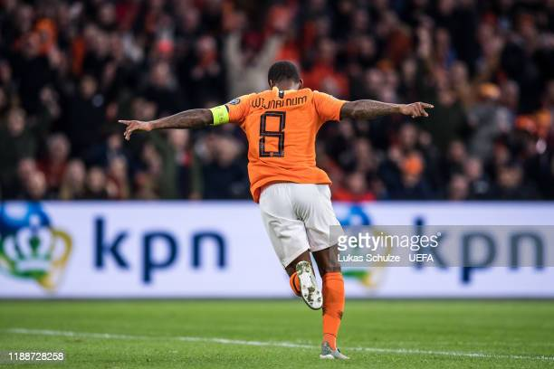 Georginio Wijnaldum of Netherlands celebrates his team's fourth goal during the UEFA Euro 2020 Qualifier between The Netherlands and Estonia on...
