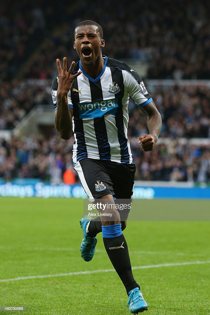 Georginio Wijnaldum of Newcastle United celebrates as he scores their sixth goal and his fourth during the Barclays Premier League match between Newcastle United and Norwich City at St James' Park on October 18, 2015 in Newcastle upon Tyne, England.