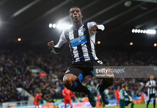 Georginio Wijnaldum of Newcastle United celebrates as he scores their second goal during the Barclays Premier League match between Newcastle United...