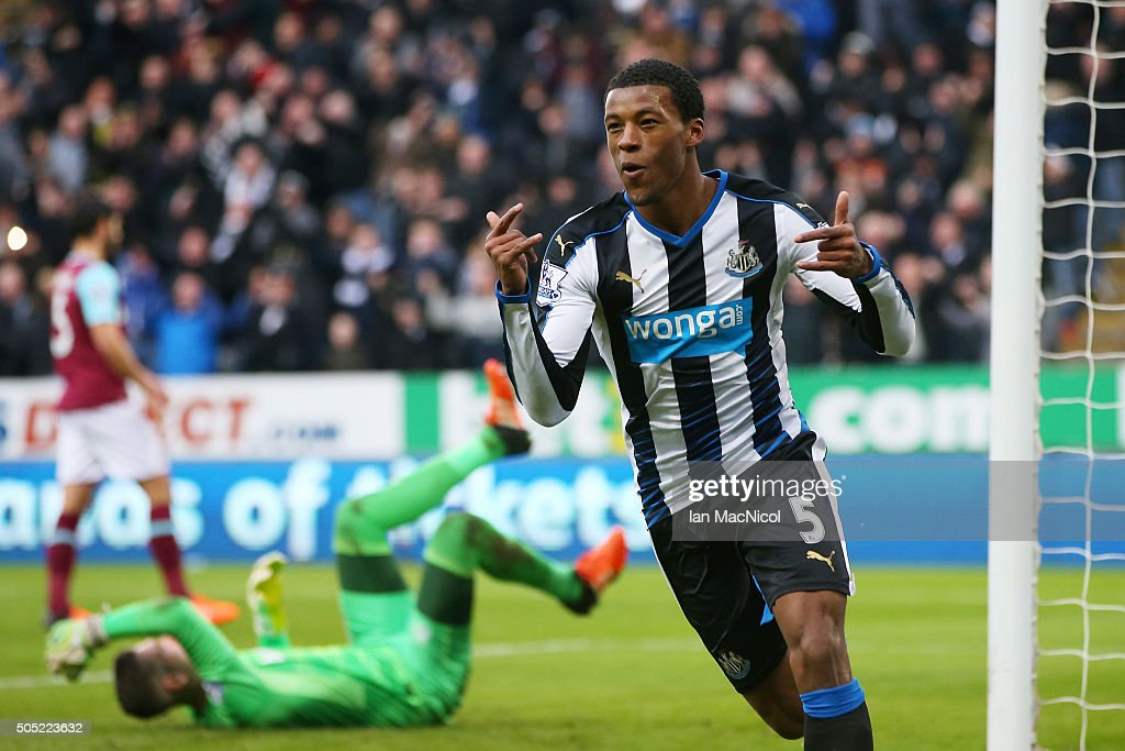 Georginio Wijnaldum of Newcastle United celebrates scoring his team's second goal during the Barclays Premier League match between Newcastle United and West Ham United at St. James' Park on January 16, 2016 in Newcastle, England.