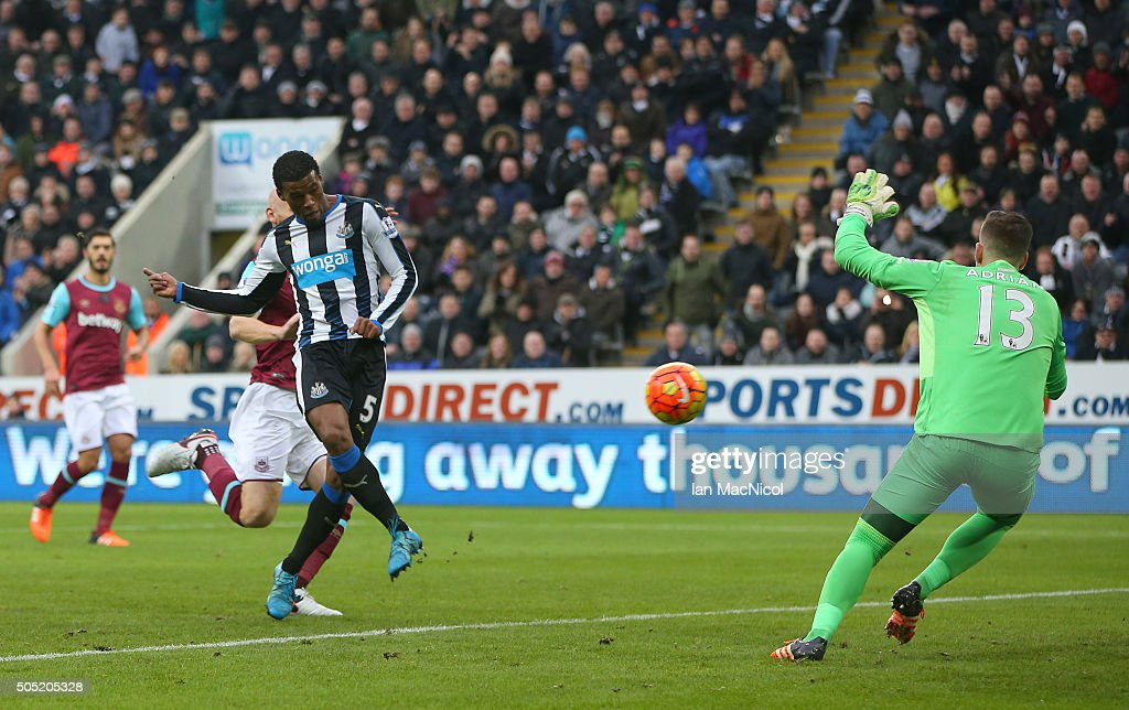 Georginio Wijnaldum of Newcastle United scores his team's second goal during the Barclays Premier League match between Newcastle United and West Ham United at St. James' Park on January 16, 2016 in Newcastle, England.