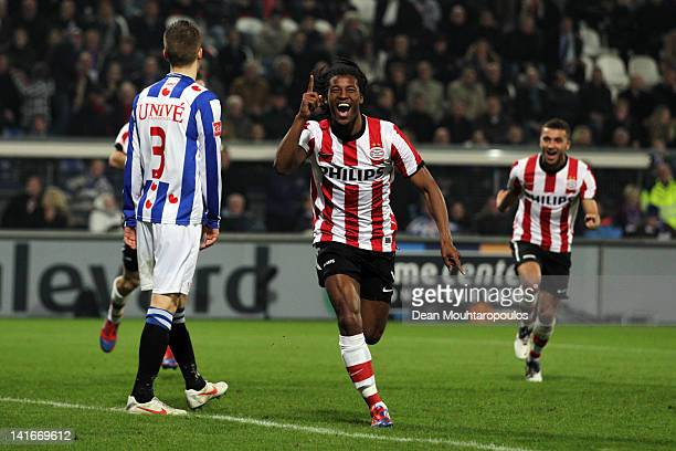 Georginio Wijnaldum of PSV celebrates after he shoots and scores his teams second goal of the game during the Dutch Cup Semi Final between SC...