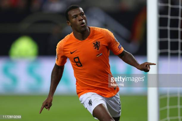 Georginio Wijnaldum of The Netherlands celebrates after scoring his sides 4th goal during the UEFA Euro 2020 qualifier match between Germany and...
