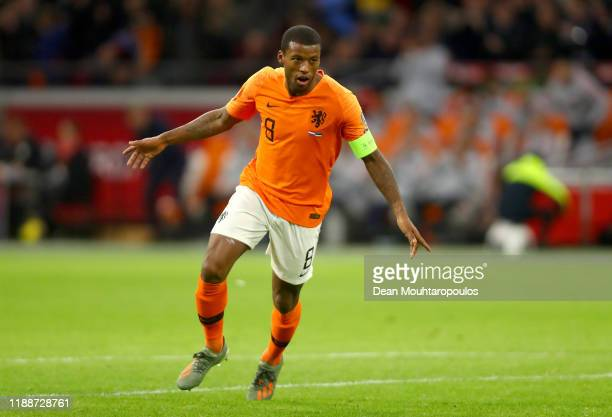 Georginio Wijnaldum of The Netherlands celebrates after scoring his team's fourth goal during the UEFA Euro 2020 Qualifier between The Netherlands...