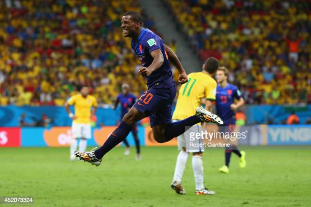 Georginio Wijnaldum of the Netherlands celebrates scoring his team's third goal during the 2014 FIFA World Cup Brazil Third Place Playoff match...