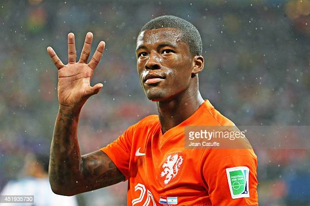 Georginio Wijnaldum of the Netherlands gestures during the 2014 FIFA World Cup Brazil Semi Final match between Netherlands and Argentina at Arena de...