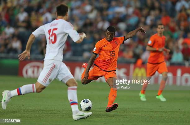 Georginio Wijnaldum of The Netherlands scores a goal during UEFA European U21 Championships Group B match between The Netherlands and Russia at Teddy...