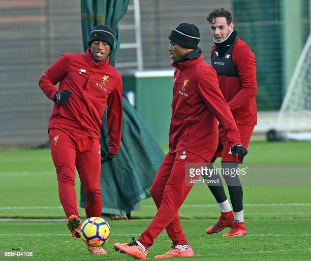 Georginio Wijnaldum with Daniel Sturridge of Liverpool during a training session at Melwood Training Ground on December 8 2017 in Liverpool England