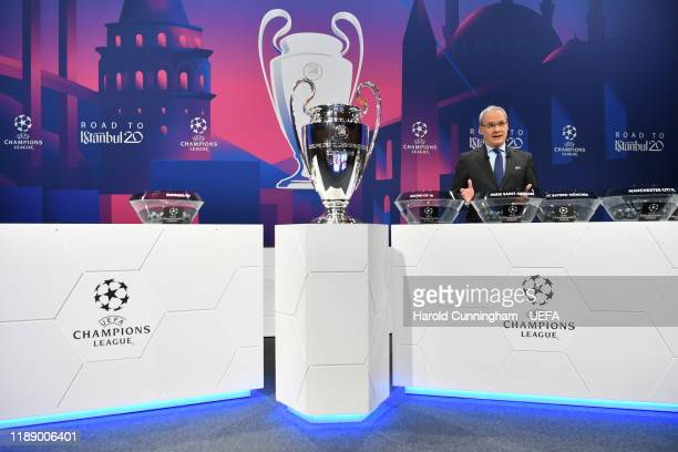 Georgio Marchetti UEFA Competitions Director speaks during the Champions League 2019/20 Round of 16 Draw at the UEFA headquarters The House of...