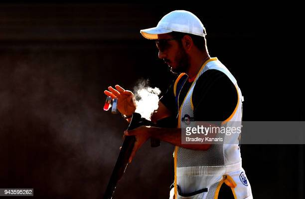 Georgios Achilleos of Cyprus ejects his gun in the Men's Skeet event during Shooting on day five of the Gold Coast 2018 Commonwealth Games at Belmont...