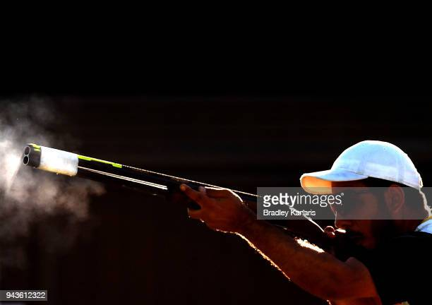 Georgios Achilleos of Cyprus shoots in the final of the Men's Skeet during Shooting on day five of the Gold Coast 2018 Commonwealth Games at Belmont...