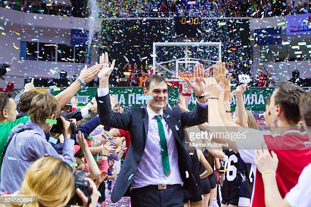 Georgios Bartzokas Head Coach of Lokomotiv Kuban Krasnodar after the 20152016 Turkish Airlines Euroleague Basketball Playoffs Game 5 between...