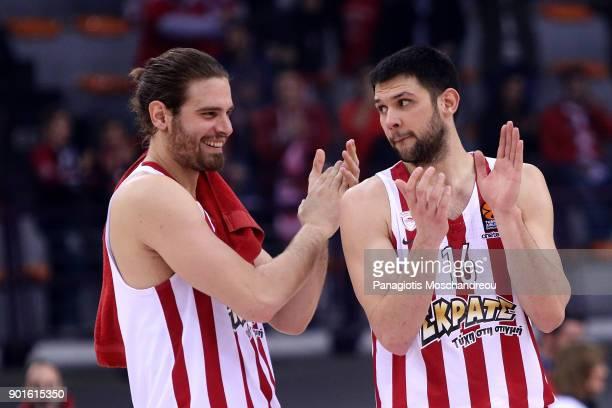 Georgios Bogris #31 and Kostas Papanikolaou #16 of Olympiacos Piraeus react during the 2017/2018 Turkish Airlines EuroLeague Regular Season Round 16...