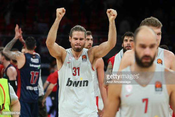 Georgios Bogris #31 of Olympiacos Piraeus celebrates at teh end of the 2018/2019 Turkish Airlines EuroLeague Regular Season Round 2 game between...