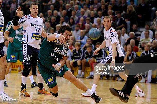 Georgios Chalkidis of Wetzlar controls the ball during the Toyota HBL match between SG FlensburgHandewitt and HSG Wetzlar at Campus hall on October 8...