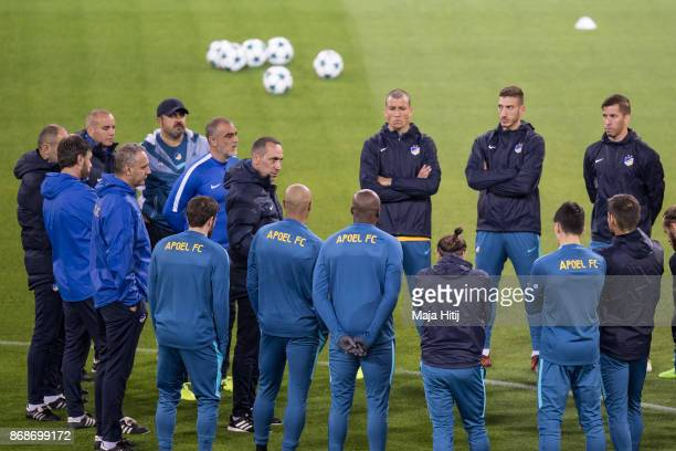 Georgios Donis head coach of Nicosia speaks to the team during the training prior the UEFA Champions League group H match between Borussia Dortmund...