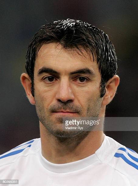 Georgios Karagounis of Greece looks on during the national anthems prior to the international friendly match between Portugal and Greece at the LTU...