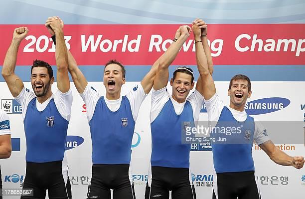 Georgios Konsolas Spyridon Giannaros Panagiotis Magdanis and Eleftherios Konsolas of Greece celebrate after the Lightweight Men's Quadruple Sculls...
