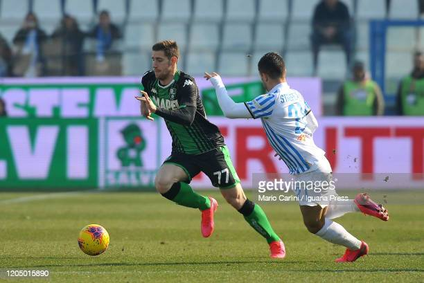 Georgios Kyriakopoulos of US Sassuolo in action during the Serie A match between SPAL and US Sassuolo at Stadio Paolo Mazza on February 09 2020 in...