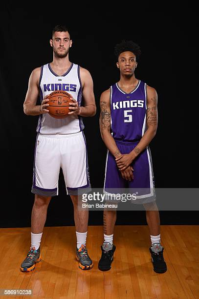 Georgios Papagiannis and Malachi Richardson of the Sacramento Kings poses for a portrait during the 2016 NBA rookie photo shoot on August 7 2016 at...