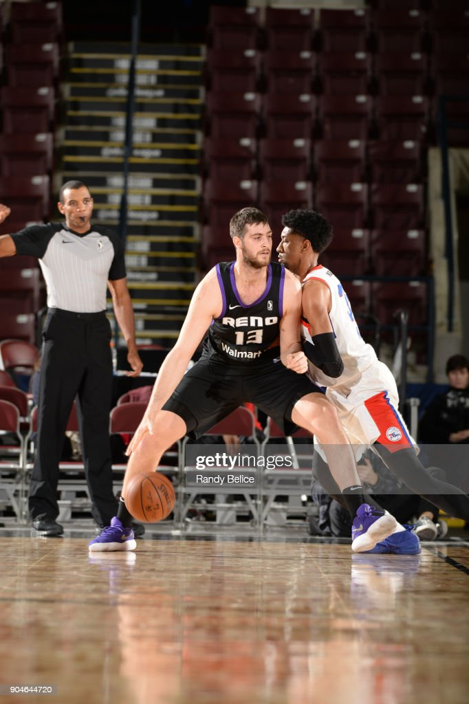 Georgios Papagiannis #13 of the Reno Bighorns dribbles the ball during NBA G League Showcase Game 26 between the Reno Bighorns and the Delaware 87ers on January 13, 2018 at the Hershey Centre in Mississauga, Ontario Canada.