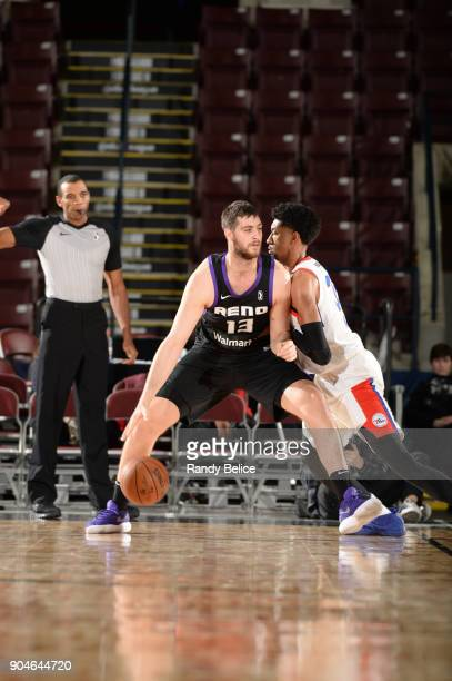 Georgios Papagiannis of the Reno Bighorns dribbles the ball during NBA G League Showcase Game 26 between the Reno Bighorns and the Delaware 87ers on...