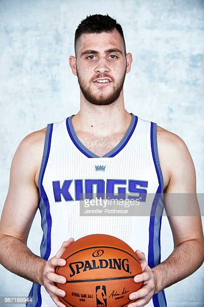 Georgios Papagiannis of the Sacramento Kings poses for a portrait during the 2016 NBA rookie photo shoot on August 7 2016 at the Madison Square...