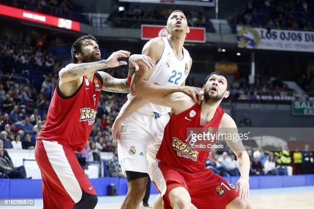 Georgios Printezis #15 and Kostas Papanikolaou #16 of Olympiacos Piraeus competes Walter Tavares #22 of Real Madrid the 2017/2018 Turkish Airlines...