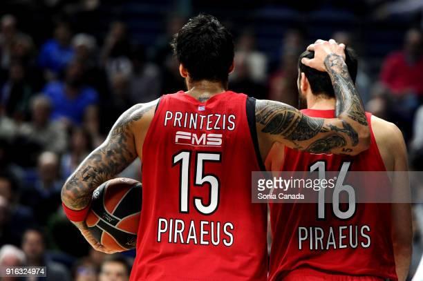 Georgios Printezis #15 forward of Olympiacos Piraeus and Kostas Papanikolaou #16 forward of Olympiacos Piraeus during the 2017/2018 Turkish Airlines...