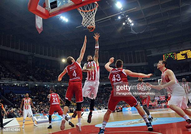 Georgios Printezis #15 of Olympiacos Piraeus in action during the Turkish Airlines Euroleague Basketball Top 16 Round 3 game between Olympiacos...
