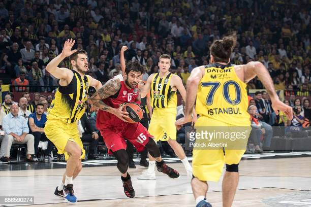 Georgios Printezis #15 of Olympiacos Piraeus in action during the Championship Game 2017 Turkish Airlines EuroLeague Final Four between Fenerbahce...