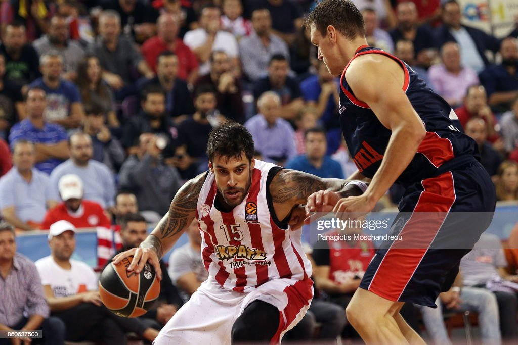 Georgios Printezis, #15 of Olympiacos Piraeus in action during the 2017/2018 Turkish Airlines EuroLeague Regular Season Round 1 game between Olympiacos Piraeus v Baskonia Vitoria Gasteiz at Heraklion Arena on October 12, 2017 in Heraklion, Crete, Greece.
