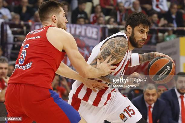 Georgios Printezis of Olympiacos in action against Alec Peters of CSKA Moscow during Turkish Airlines Euroleague week 24 basketball match between...