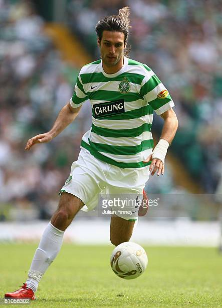 Georgios Samaras of Celtc in action during The Clydesdale Bank Scottish Premier League match between Celtic and Hibernian at Celtic Park on May 11...