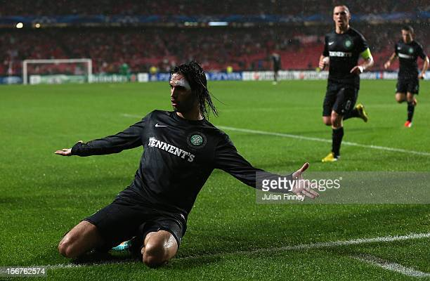 Georgios Samaras of Celtic celebrates scoring his goal to make it 11 during the UEFA Champions League Group G match between SL Benfica and Celtic FC...
