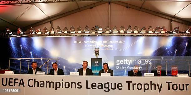 Georgiy Cherdantsev Dmitri Alenichev Davor Suker Luis Figo Michail Alexeev and Thomas Giordano poses for photo during the UEFA Champions League...