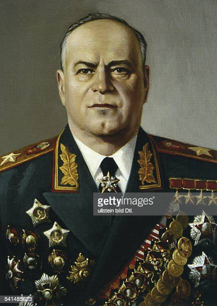 Georgy Konstantinovich Zhukov *01121896 military leader Marshal of the Soviet Union 19551957 Minister of Defence portrait after a painting by NW...