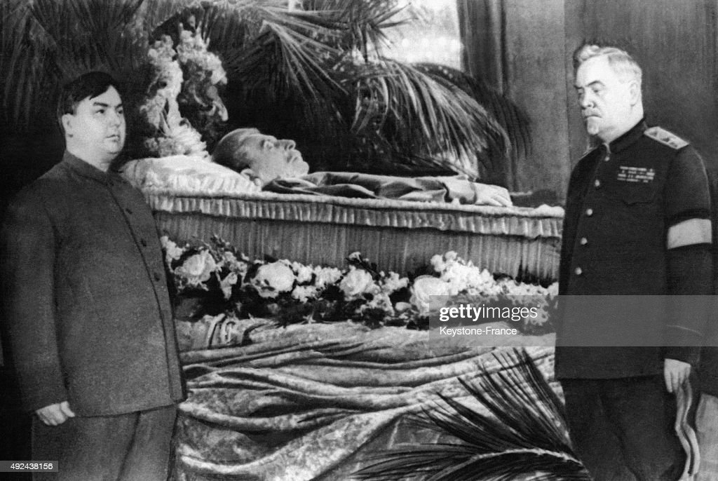 Georgy Malenkov and Nikolai Bulganin in front of the remains of Joseph Stalin in March, 1953 in Moscow, Russia.