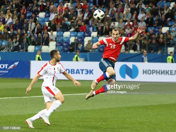 Georgy Melkadze and Milan Gaiic seen in action during the match 2019 UEFA European Under21 Championship Russia vs Serbia Group 7 The Russian team...