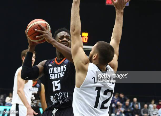 Georgy Zhbanov and Wilfried Yeguete seen in action during the game Basketball Champions League BC Nizhny Novgorod from Russia vs Le Mans from France...