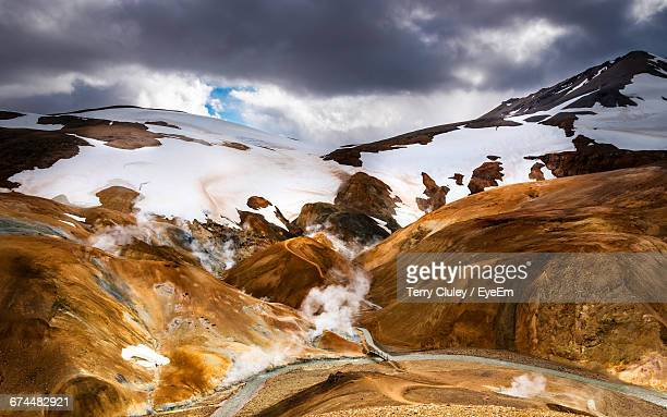 Geothermal Activity In Mountain Landscape