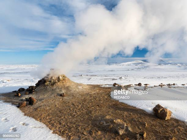 Geothermal area Hveraroend with mudpots fumarales and solfataras near lake Myvatn and the ring road Europe northern Europe Iceland February