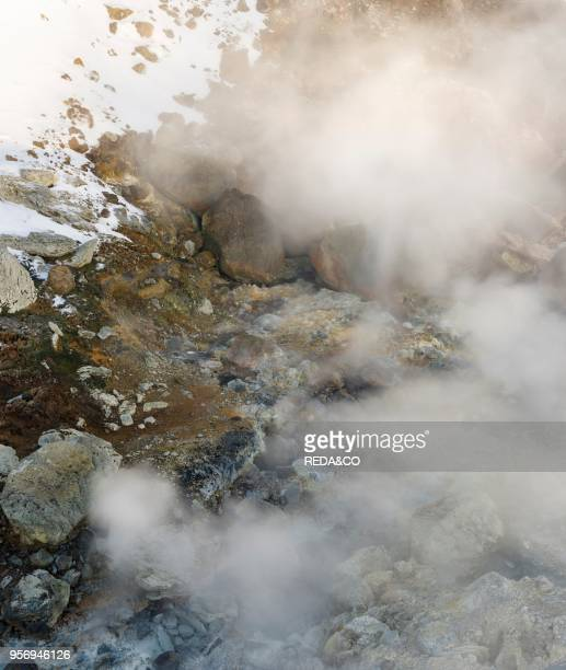 Geothermal area Seltun heated by the vulcano Krysuvik on Reykjanes peninsula during winter Europe northern Europe Iceland February
