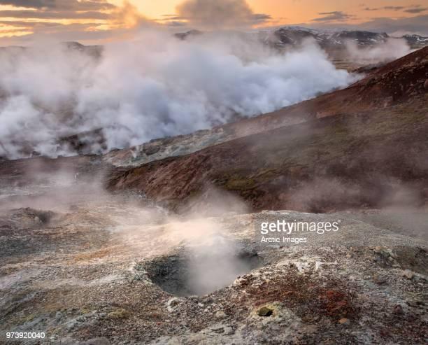 Geothermal Area, Steaming Boreholes, Hellisheidi, Iceland