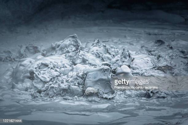 geothermal area with steam and mud pools pots - boiling stock pictures, royalty-free photos & images