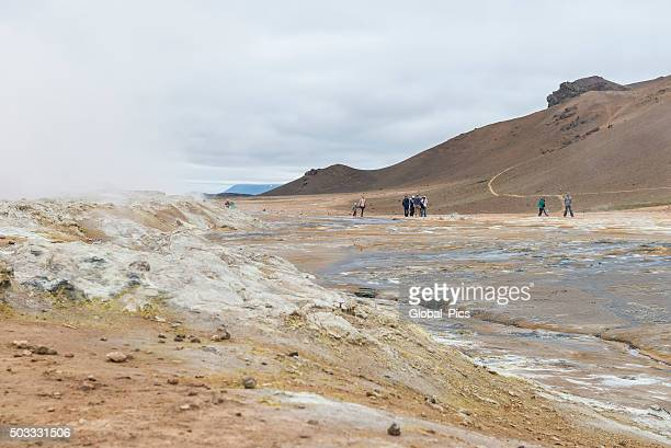 geothermal field hveraröndor hverir in iceland - sulfuric acid stock photos and pictures