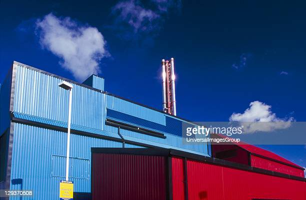Geothermal heating station, Southampton, housed in . Blue buildings and red buildings, blue sky, heat from ground, hot rocks, heat sink, heat source,...